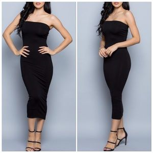 🆕Black Strapless Tube Fitted Maxi Like Midi Dress